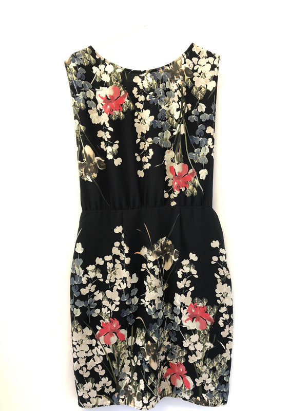 Size 12 F&F Black Flower patterned Dress