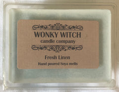Fresh Linen Hand Poured Vegan Soya Melts From The Wonky Witch Candle Company