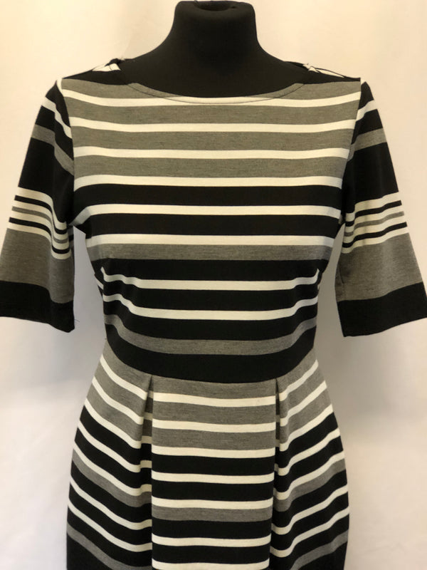 Size 12 Black/grey/white Stripe Body Con dress