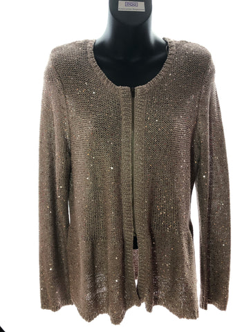 Size 16 M&S Gold Beige Sequin Knit Cardigan   As New