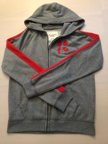 Age 13-14 Boys Abercrombie & Fitch Grey Hoody Red detail