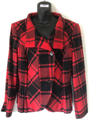 Size 18  Madeleine Red and Black Checked wool lined Jacket