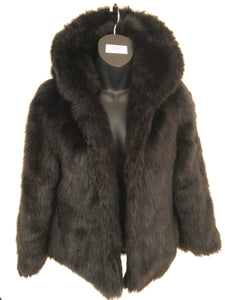 Size 6-8 Black Hooded Faux Fur Jacket