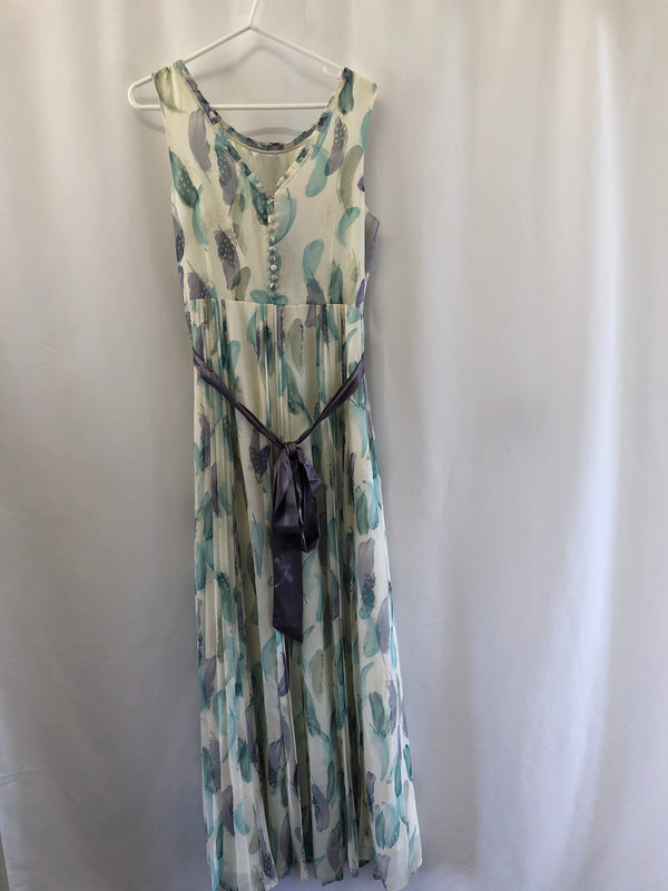 Size 14 Monsoon Long Cream & flowers Dress New with Tags
