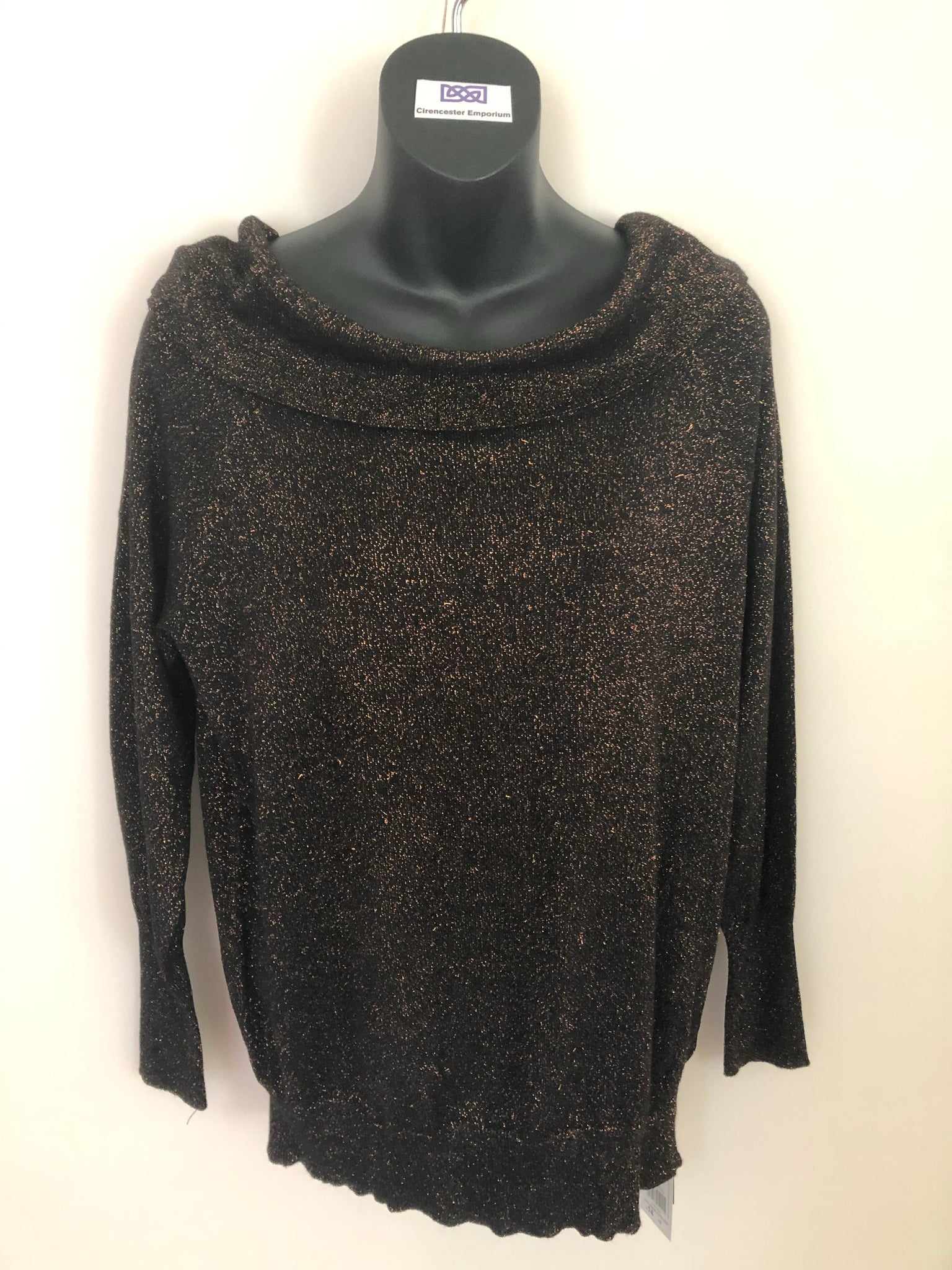 Size 16 F&F Black Gold Sparkle Knitted Top  New Tagged