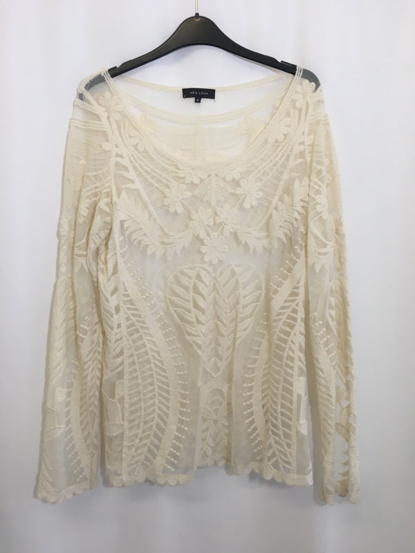 Size 12 New Look Cream Sheer Floral Long Sleeved Top