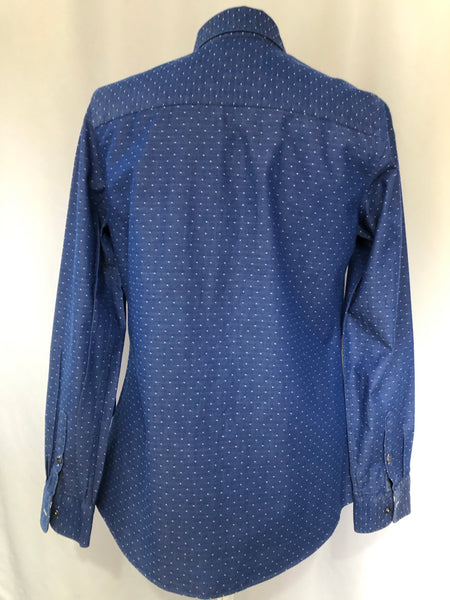 Size 10 Crew Clothing Blue Patterned 100% Cotton  Blouse