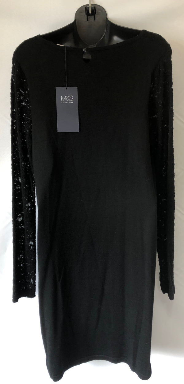 Size 16 M&S Knit Black Evening Dress/ Tunic  New Tagged Rrp £35