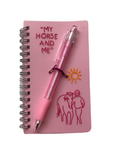"Stocking filler New pink ""I would rather be riding"" notepad  set EQ"