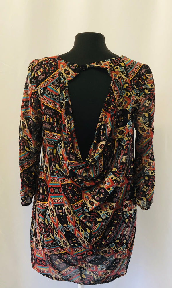 Monsoon Multi Colour Sheer Blouse Top Size 12