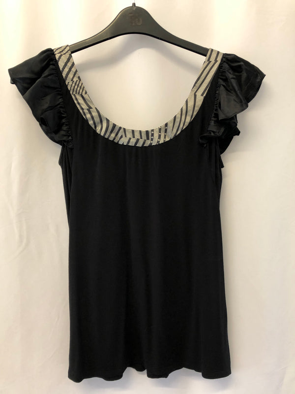 Size 10 Ted Baker Ladies Black Top Jersey with Satin Trim