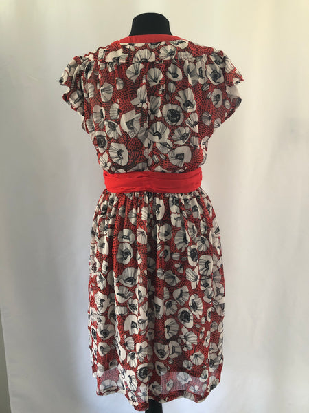 Size 10 H&M Red Patterned Flower dress