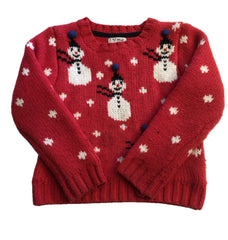 Age 5 - 6 Next Pink Thick Snowman Christmas Jumper