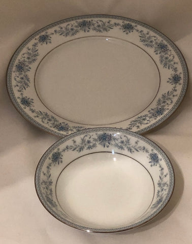 "Noritake ""Blue Hill"" Contemporary Fine China Dessert Plate and Bowl"