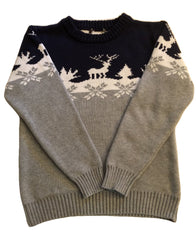 Age 8 - 9 Grey Christmas Scene Thick Jumper