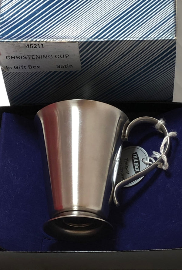 "Pewter Vintage ""Old Hall 45211"" Christening Cup in Box and Presentation Case"