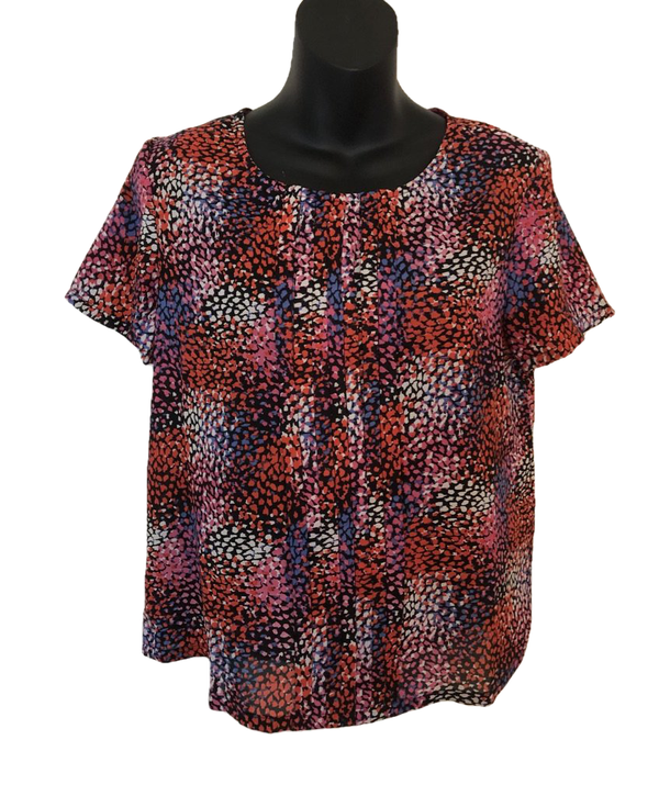 Size 12 Navy Therapy Multi Colour Silky Top