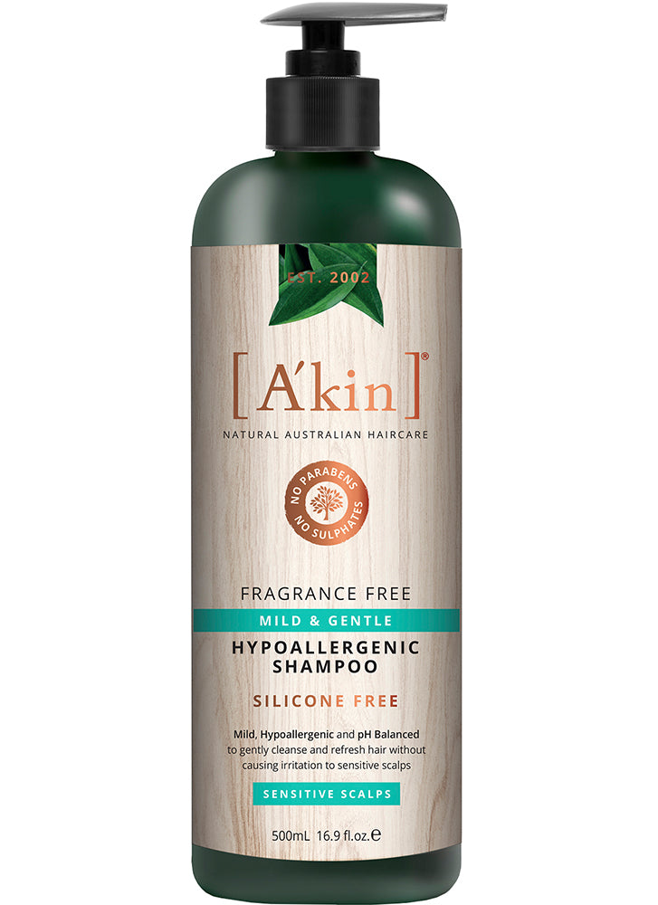 A'kin Fragrance Free Mild & Gentle Hypoallergenic Shampoo for Sensitive Scalps 500ml