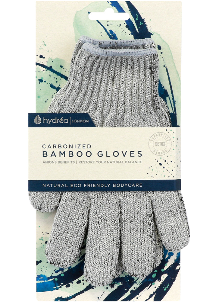 Hydrea Bamboo Carbonized Exfoliating Shower Gloves