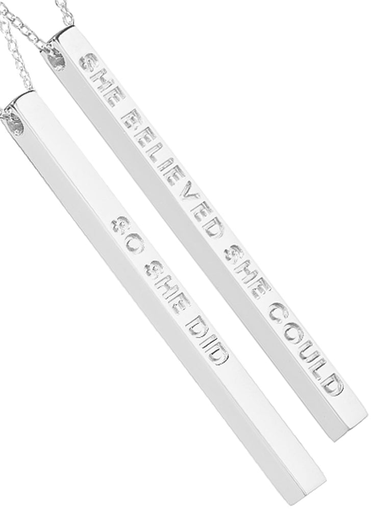 Mantraband She Believed She Could So She Did Necklace SILVER