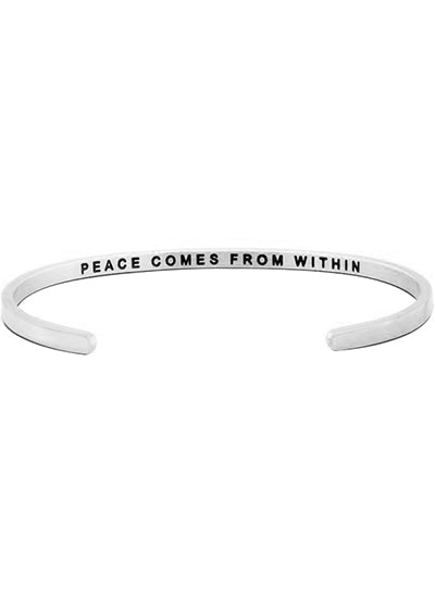 MantraBand Peace Comes From Within Bracelet SILVER