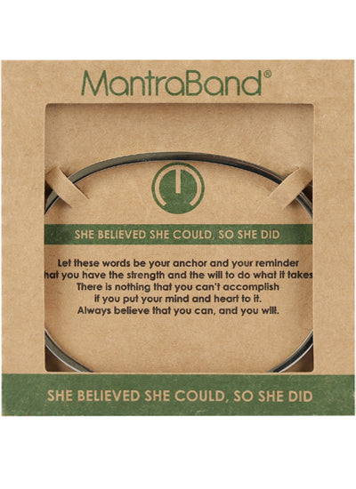 Mantraband She Believed She Could So She Did Bracelet SILVER