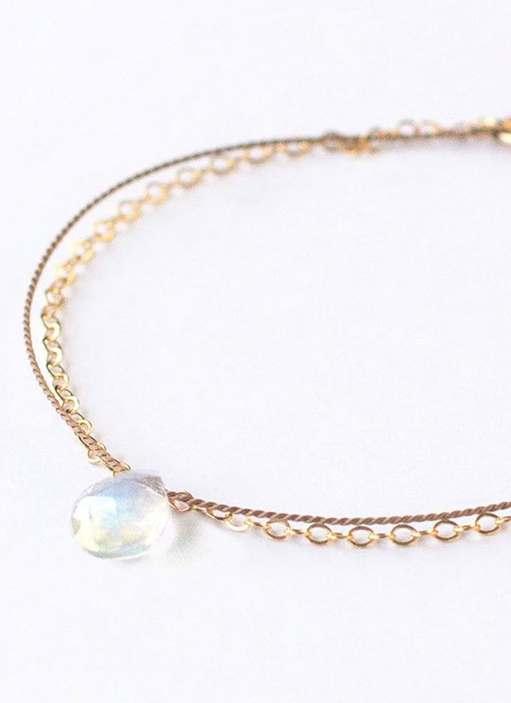 Wanderlust Life Gold & Silk Rainbow Moonstone Medium Bracelet