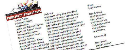 TRIANGLE NC MEDIA LIST - Over 415 press contacts in the Triangle