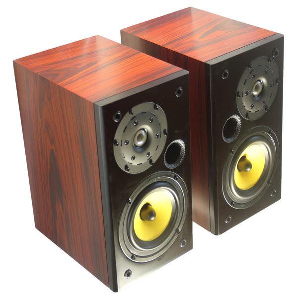TUNERSYS S162YD Passive Bookshelf Speaker,Yellow/Black/Red Wood - Pair