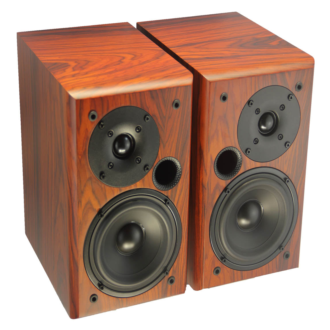 TUNERSYS Passive Bookshelf Speaker,5-inch Red Wood S162RD - Pair