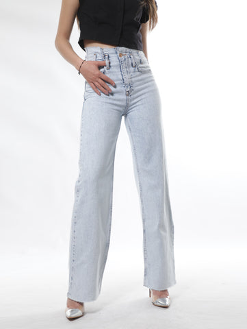 Sailor High Waist Jeans With Ripped Trims