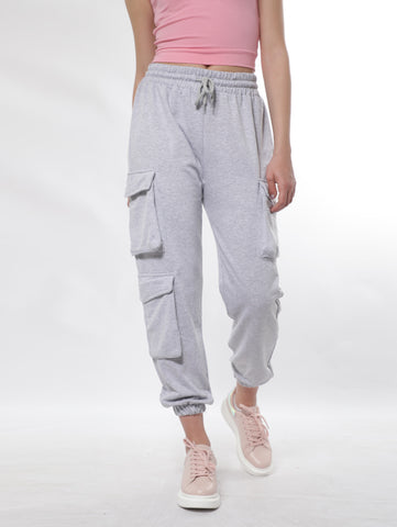 Cargo Sweatpants With Three Flap Pockets In Gray
