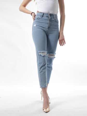 Ripped Slim Jeans In Light Blue Wash