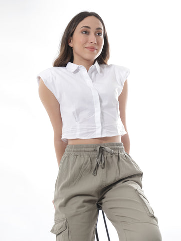 Sleeveless Cropped Shirt In White