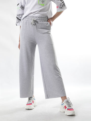 High Waist Sweatpants With Loose Cut In Gray