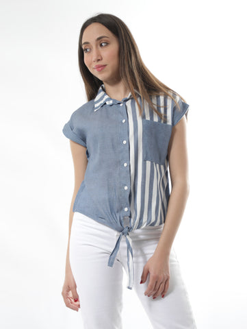 Sleeveless Striped Shirt With Crop Cut