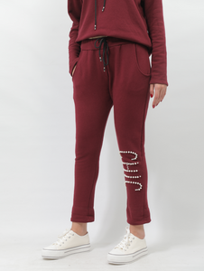 CHIC Cotton Sweatpants In Bordeaux