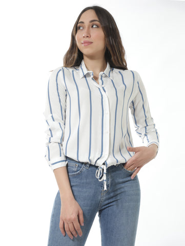 Striped Shirt With Tie Front In Blue