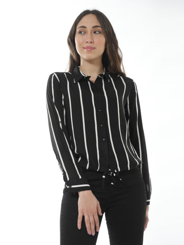 Striped Shirt With Tie Front In Black