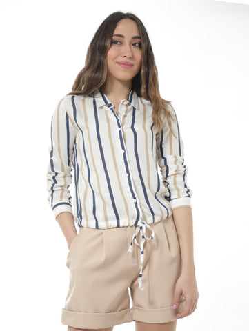 Striped Shirt With Tie Front In Beige