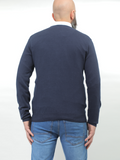 Contrast Trimmed V-neck Sweater In Navy