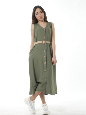 Collarless Shirt Dress With Belt In Mint