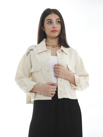 Printed Denim Shirt With Front Pockets In Off White