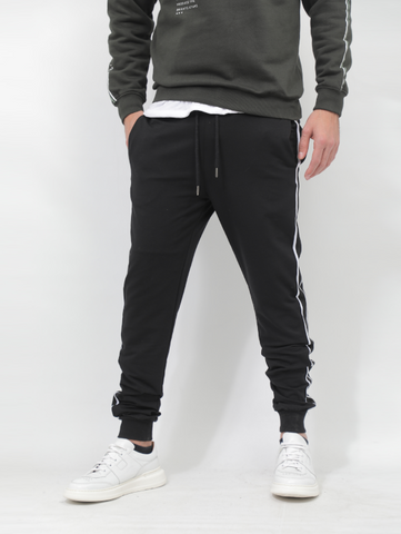 Gianno Ricci Black Sweatpants With Stripes