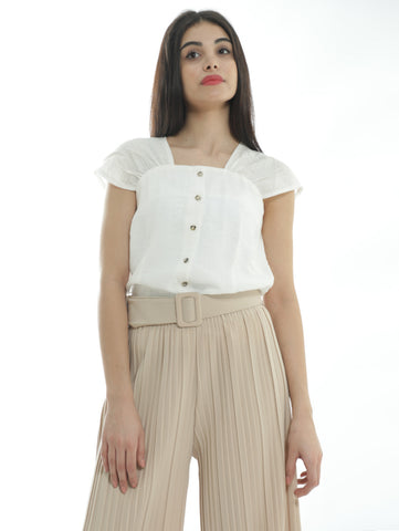 Square Collar Shirt In White