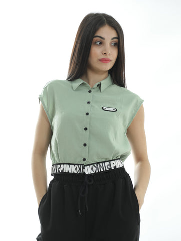 Sleeveless Shirt With Designed Elastic Waist In Green