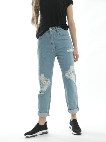 Ripped Blue Jeans In Mom Cut