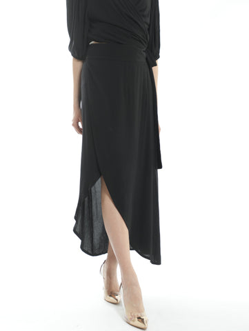 Twisted Black Long Skirt