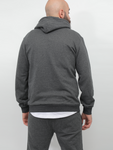 Crom DENIM Printed Design Hoodie In Grey