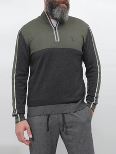 Gianno Ricci Contrast Side Sweater With Half Zipper
